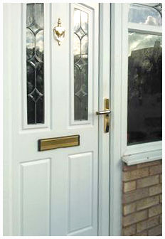 photograph of a white upvc exterior front door